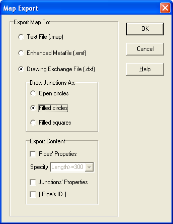 EPANet Plus map export form