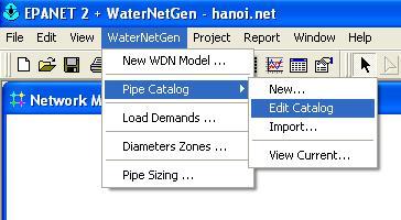 WaterGenNet menus